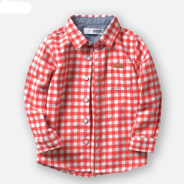 Nuevos camisas para niños de marca Casual Algodón a cuadros 100% tela de franela Camisas de niños para 2-10 años Ropa para niños