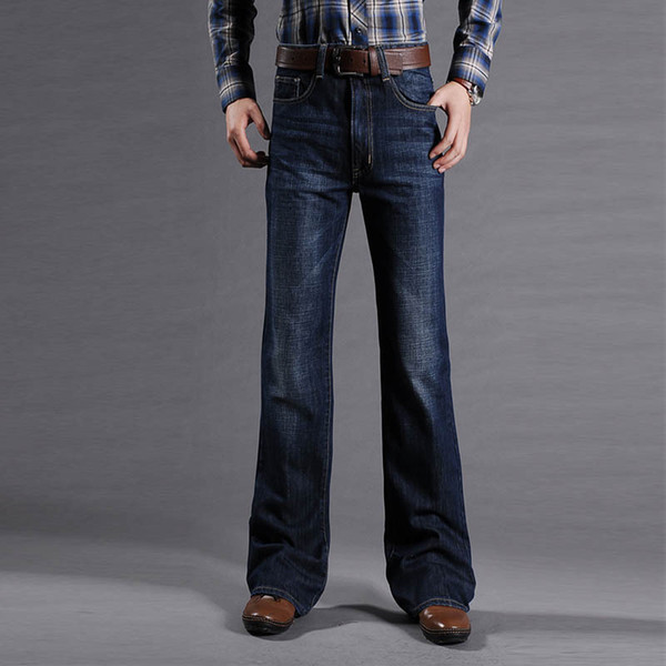 Мужские расклешенные джинсы для мужчин с подкладкой ботинок Классические эластичные джинсовые расклешенные ботинки для мужчин Модные эластичные брюки