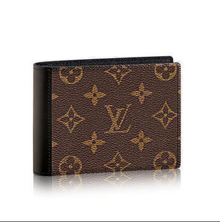 M60411 Mode Männer Frauen Macassar Leinwand Mindoro Brieftasche Oxidiertem Leder Kupplungen Abend Lange Kette Brieftaschen Kompakte Geldbörse