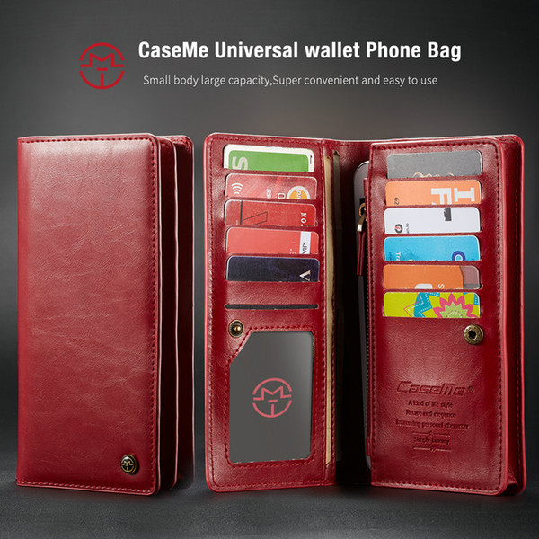 wholesale Wallet Case For LG G6 G5 Universal Phone Pouch +Credit Card Slots+Money Pocket+Zipper Multi-Function Phone Bag For iPhone