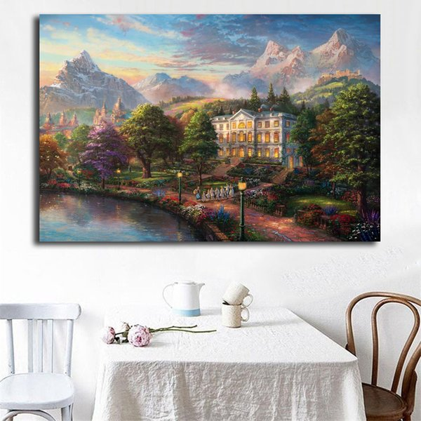 Sound Of Music By Thomas Kinkade Wall Art Canvas Posters Prints Painting Wall Pictures For Office Bedroom Home Decor Framework