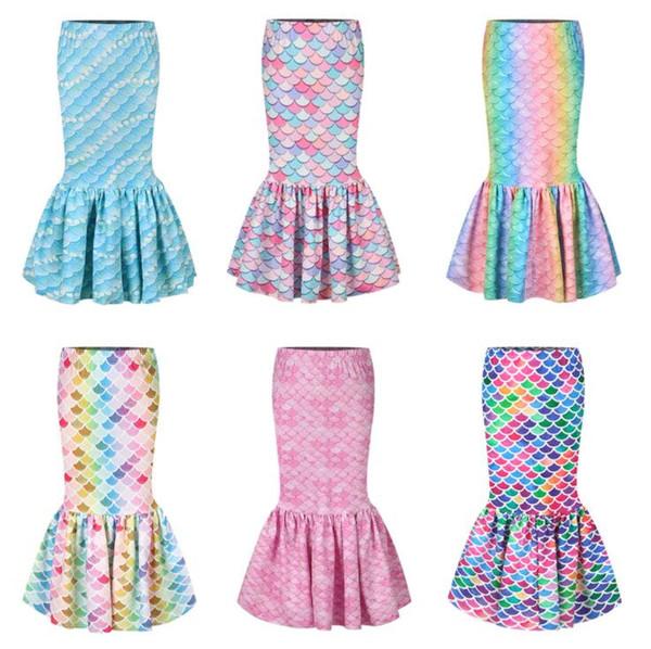 Одежда для девочек Дизайнер Девушка платья Русалка Юбка 3D Fish Scale Printed Проходная Юбка для рождения партии Cosplay костюма детей Одежда