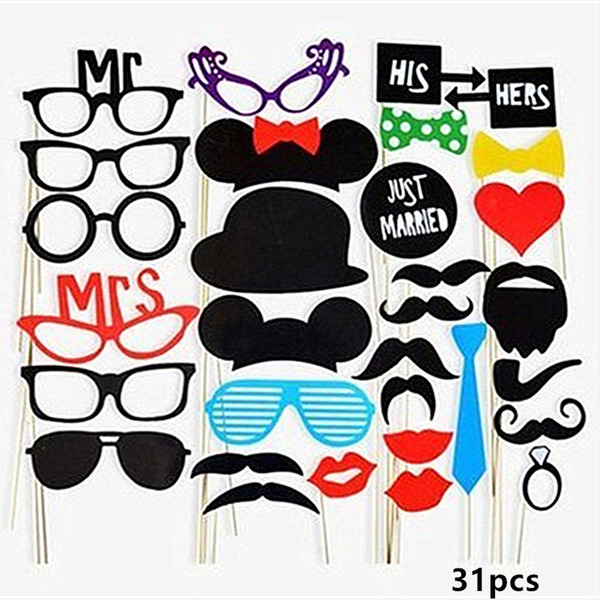 Hen Party Photo Booth Props Diy Team Bride To Be Mr Mrs Wedding Photo Props Bachelorette Party Decor Funny Glasses Mustache Prop Princess Party