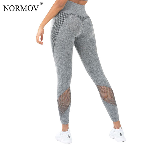 Normov Leggings Women Solid Color Mesh Fitness Legging Push Up Pants Workout Leggins Skinny Jeggings Female Fitness Legging Q190401