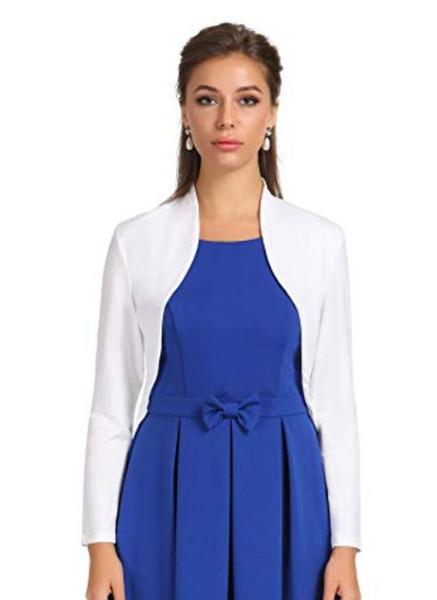 2019 Hot Selling Full Sleeves Long Jacket Custom Made Good Quality Elegant Bridal Wedding Bolero Simple Design Hign Neck Wholesale Price