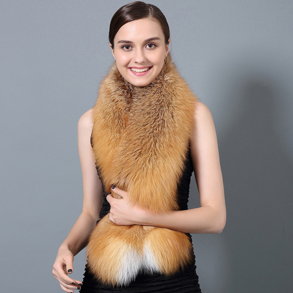 CX-S-28D Natural Color  Winter Warm Women Neck Real  Fur Scarf