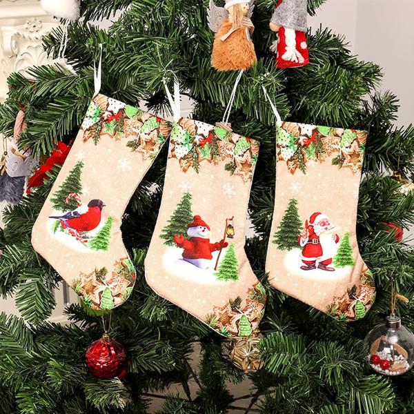 3d Printed Christmas Ornaments.Large Christmas Stocking 3d Printed Gift Holder Sock For Xmas Kid Gift Christmas Tree Hanging Stocking Ornament For Home Shop Cool Christmas