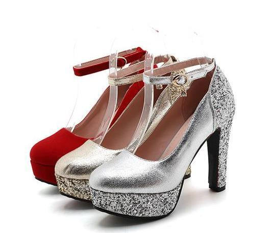 best selling Plus size 34 to 42 43 bridal wedding shoes red sequined ankle strappy round toe platform pumps gold silver Come With Box