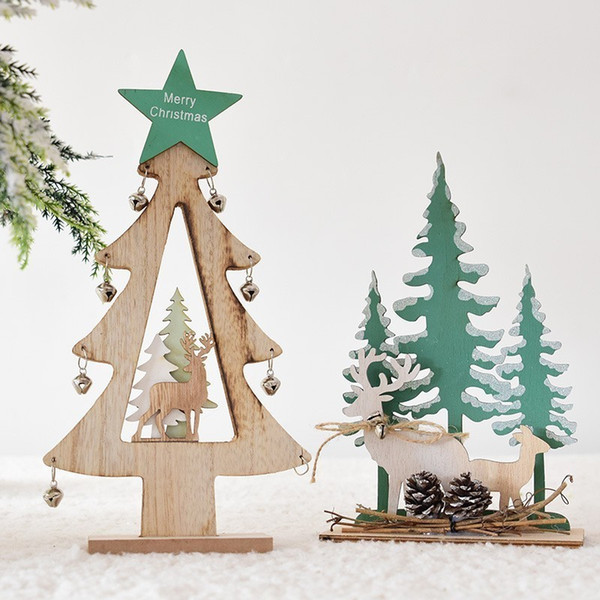 Decorative Wood Christmas Trees With Jingle Bells Star Ornaments Creative Xmas Home Living Room Bedroom Decorations For Kids