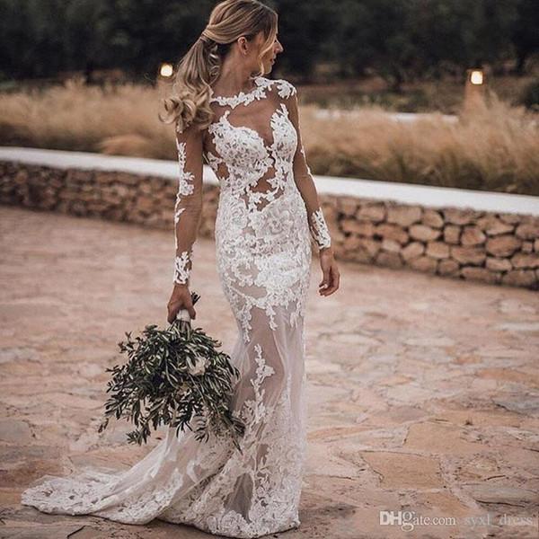 Vestidos de novia de sirena de encaje de manga larga boho de estilo country vintage vestidos de novia vestido de novia