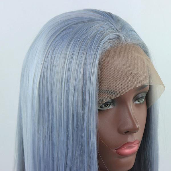 Großhandel Ombre Light Blue Mix Grau Lange Gerade Handgebundene Synthetische Lace Front Perücke Glueless Hitzebeständige Faser Haar Für Schwarz Weiß
