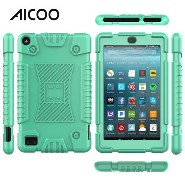 AICOO Cor Soft Silicone Tablet Tablet À Prova de Choque Anti-slip de Proteção Completa Tablet Capa para Kindle Fire 7 2019 OPP