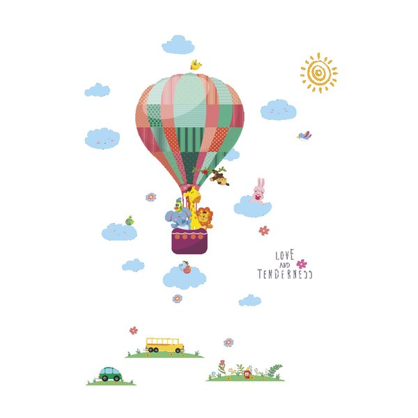 Wall Stickers Home Wall Decor Hot Air Balloon for Kids Room Bedroom Decoration Cartoon Animals Poster Mural Wallpaper Wall Decal