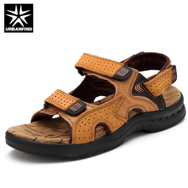 URBANFIND Véritable En Cuir Hommes D'été Sandales Taille 38-44 Style Vintage Mâle Casual Chaussures De Plage 3 Couleurs Noir Yelow Brown