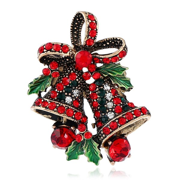 Whosale Top Christmas tree design creative gifts bow tie high-end brooch Retro bell Brooch pins for Christmas