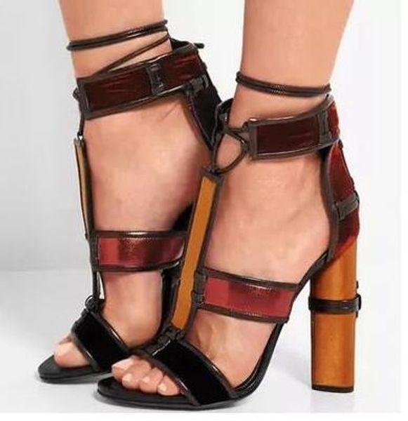Summer Celebrity Fashion Woman Strappy Sandals Pumps Shoes Harriet Multicolour Patchwork Leather Cage Sandals Block High Heels