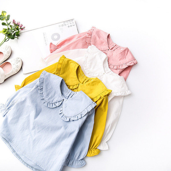 Frühlings-Herbst-Kind-Kleidungshemden Kinder Rüschen Kragen Mode Weiß Langhülse Bluse Mädchen Hemden Mädchen Bluse Hemden