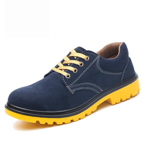 Compre Hombres De Gamuza Zapatos Con Punta De Acero Botas De Seguridad En El Trabajo Hombre Antiesqueante Prueba De Puntura De Acero Antideslizante