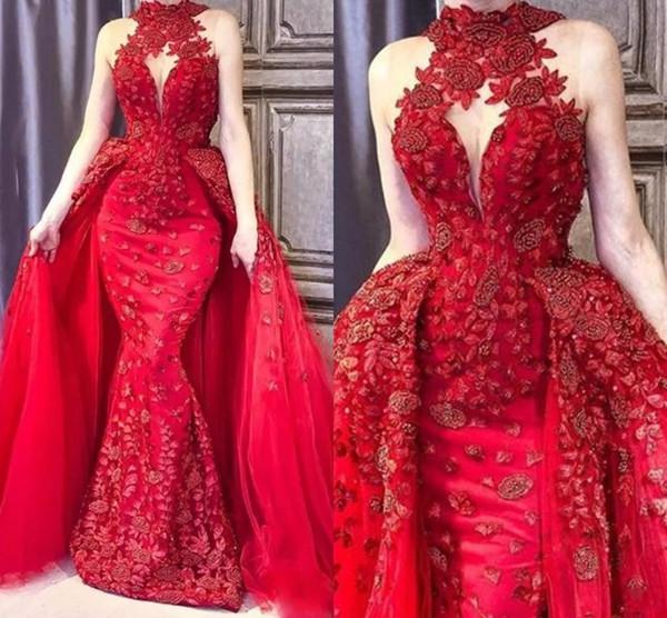 Glamorosa tren rojo desmontable vestidos de baile 2019 3D apliques de cuello alto con cuentas vestido de alfombra roja Abric DuBai Celebrity Mermaid Evening