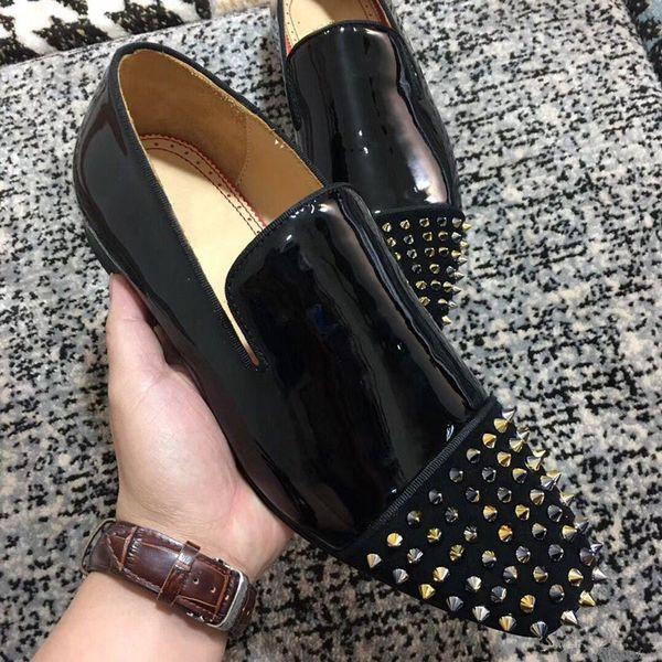 Luxury Designer Dandelion Genuine Leather Loafers High Quality Red Bottom Oxford Gentleman Black Glitter Spikes Moccasin Walking