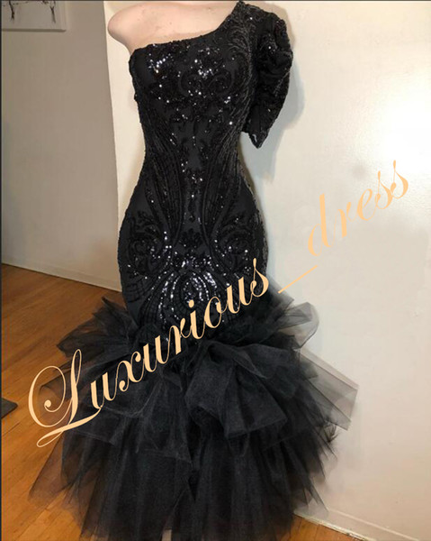 New Black Mermaid Prom Dresses 2019 Real Sample Exquisite One Shoulder Sequin Top Ruffles Tulle Short Sleeve evening dresses for women
