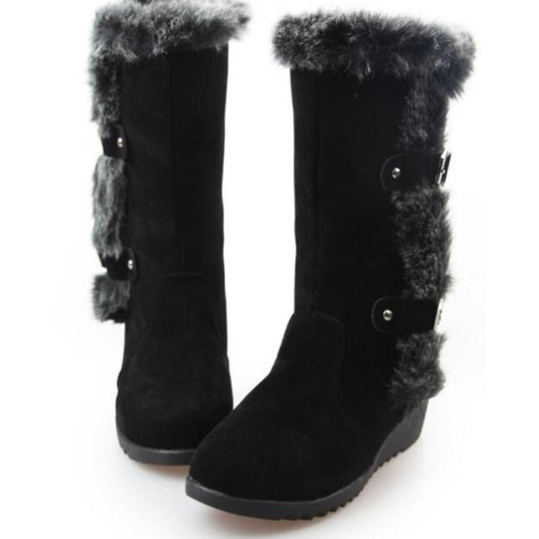 SAILING LU Women Warm Ankle Boots Faux Fur Winter Fashion Boots Buckle Strap Ankle Bootie Creepers Shoes Woman Booten XWX7049