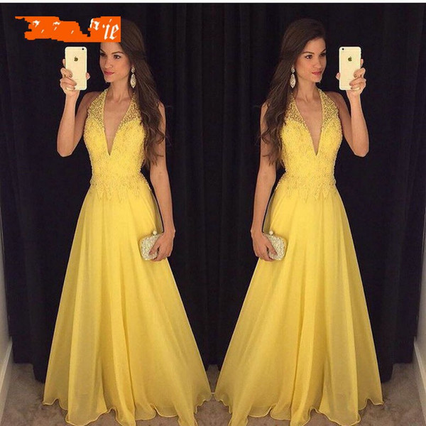 Fashion Yellow Prom Dresses 2019 Sexy Halter Evening Gowns for Women Beaded Formal V-Neck Chiffon Backless Beach Cheap Party Dress