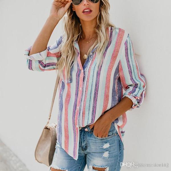 precio alta moda diseño superior Compre Moda Americana Rayas De Color Mujeres Grandes Blusa Señoras Otoño  Nueva Moda Europea Linda Mujer Top Para Mujer A $30.16 Del Best1222 | ...