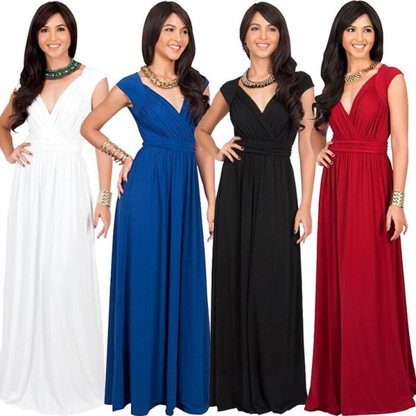 Summer plus size dress sleeveless sexy long dress for fat women deep V neck M XL 2XL 3XL lady Cap sleeve evening dress