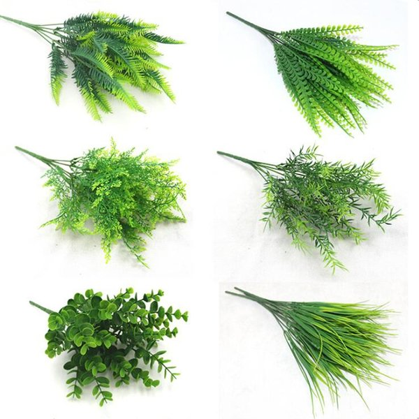 7 Fork Water Grass Eucalyptus Plastic Artificial Plants Green Grass Plastic Flower Plant Wedding Home Decoration Table Decors C19022801