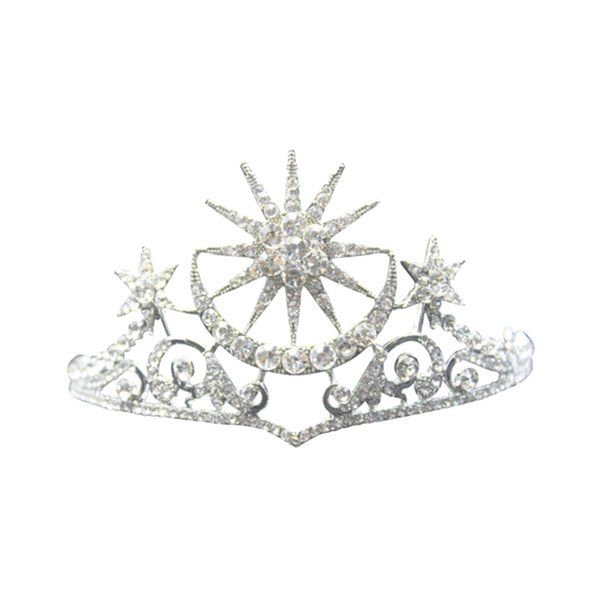 1pc Tiara Crowns Rhinestone Star Moon Chic Brides Crowns Jewelry Headwear Hair Accessory for Engagement Banquet Wedding