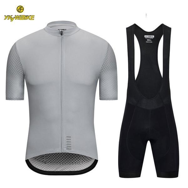 YKYWBIKE 2019 Cycling bib sets Men Summer Short Sleeve Jersey Cycling Clothing Sponge Padded Outdoor Riding Bike MTB Clothes Custom design