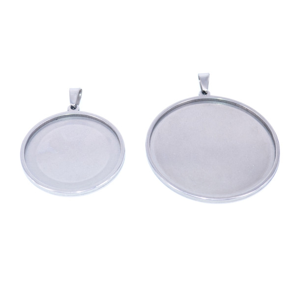 stainless steel cabochon base setting fit 30mm 40mm cabochon jewelry findings round blank pendant trays for diy jewelry necklace making