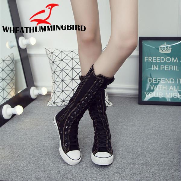 Plus Size Moda Feminina High-top Oco Respirável botas Long-barreled apartamentos casuais botas de lona Altura Crescente Sapatos MA-72G