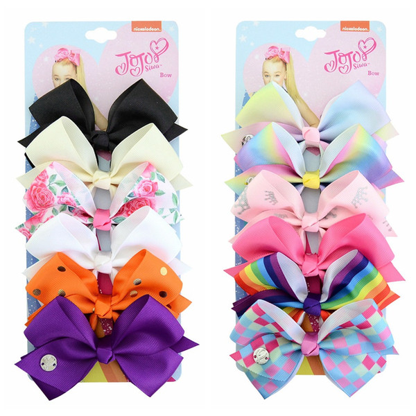 54 color JOJO hair Bow girl colorful print Barrettes Girl boby gift 6 color Hair Accessories Rainbow Unicorn kids Unicorn party hair clipper