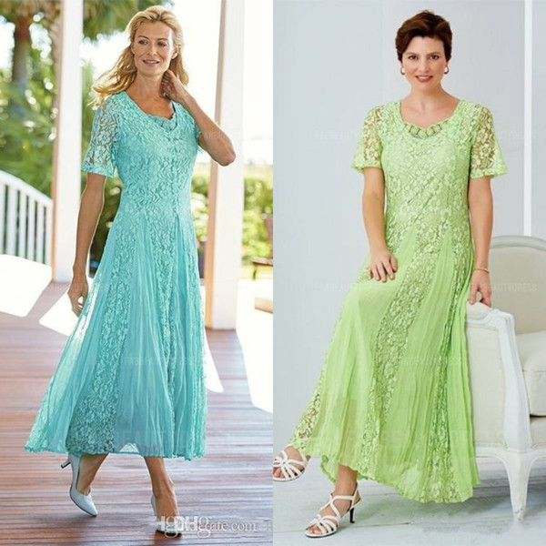 Elegant Tea Length Lace Mother Of The Bride Dresses Scoop Neck Wedding Guest Dress With Sleeves A Line Plus Size Formal Gowns