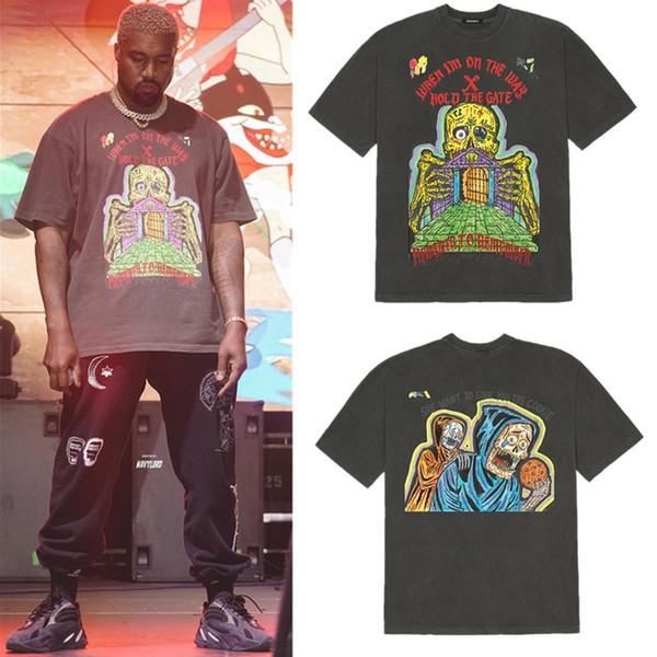 XXXTentacion Kanye West TEMPORADA 6 Hombres camiseta de alta calidad HOLD THE GATE Camiseta de manga corta Nuevo estilo para camiseta de verano