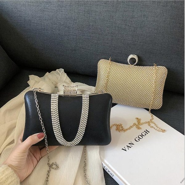 Women Evening Bags Rhinestone Minaudiere Party Dress Bag for Women 2019 Day Clutches Female Leather Shoulder Lady's Mini Bag