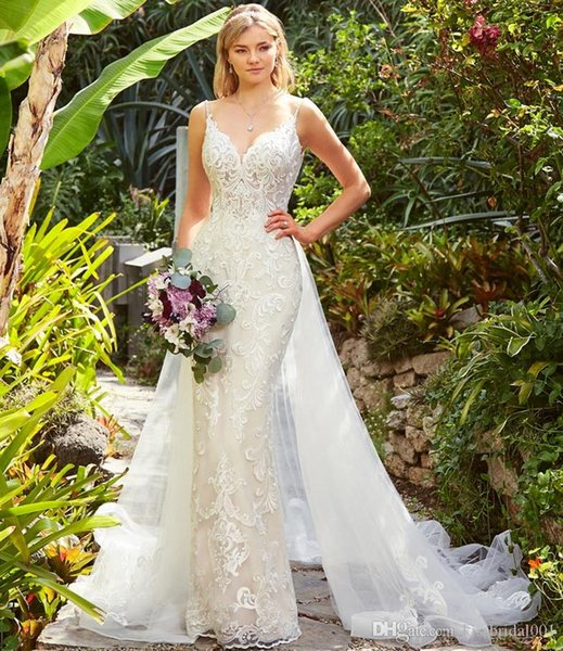 Abiti da Sposa Overskirts Wedding Dresses Lace Wedding Dress Mermaid Bridal Gowns Detachable Skirt Bride Formal Gown