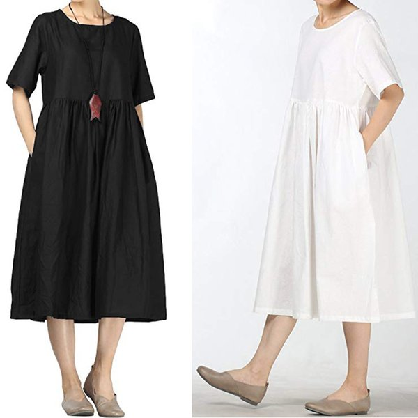 Летнее платье женское хлопчатобумажное льняное платье летние миди платья с карманами с коротким рукавом длинные платья женская вечеринка Ночь Vestidos