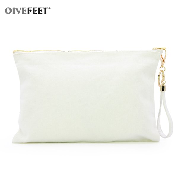 OIVEFEET LGC212,12oz Plain White Cotton Canvas Clutch Handbag PU catena nappa 3 Cotone colore Pochette oro Zipper Makeup