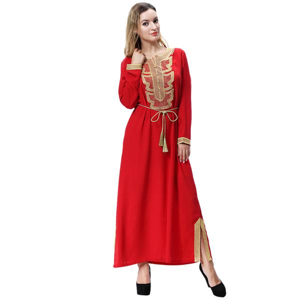 4 Arten Schöne muslimische Ramadan Womens Abaya Kleid Lace-up Oansatz Abaya für Frauen Langarm Lose Kleid Kleidung F30409