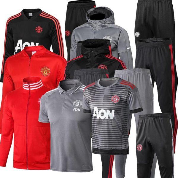 2019 2020 manchester Soccer Training Suit hommes maillots de football sportswear UNITED noir pied chemises 2018 2019 2020 Polo shirt kit shippi gratuit