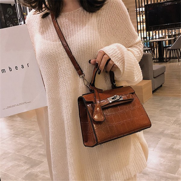 2019 Famous Brand Lock Design Shoulder Strap Crocodile pattern Leather Ladies Top-handle Handbag Luxury Messenger Bag