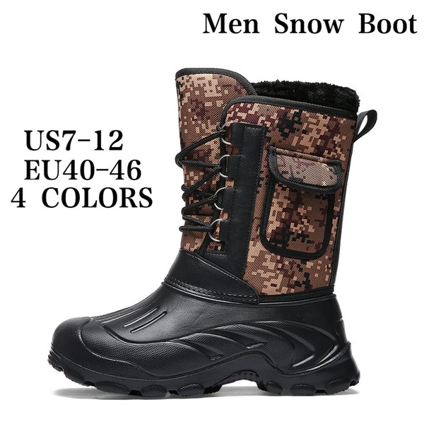 1e24978654a3 Men s Leather Snow Boots Fur Lined Waterproof and Non-Slip Winter Boots  Outdoor Warm Hiking