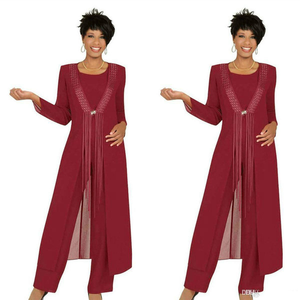 2019 Crimson Mother Of The Bride Pant Suits With Jacket Three Piece Chiffon Custom Made Long Sleeve Wedding Guest Dress Outfit