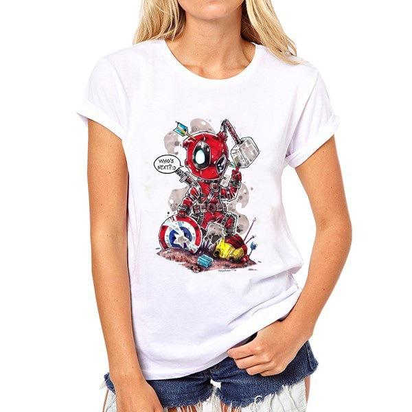 Defeat t shirt Deadpool beat all hero short sleeve gown tops Winner fastness tees Colorfast print clothing Pure color modal tshirt