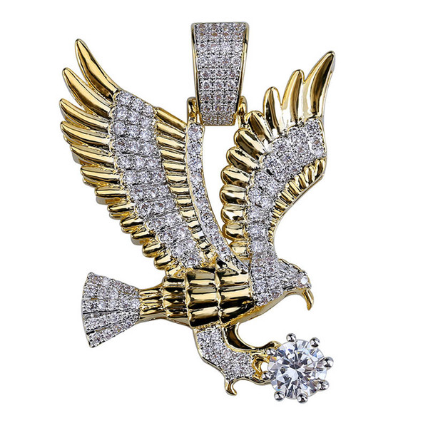 Men Fashion Iced Out Gold Color Plated Animal Eagle Wing Charm Pendant Necklace Micro Pave Zircon Hip Hop Charm Jewelry