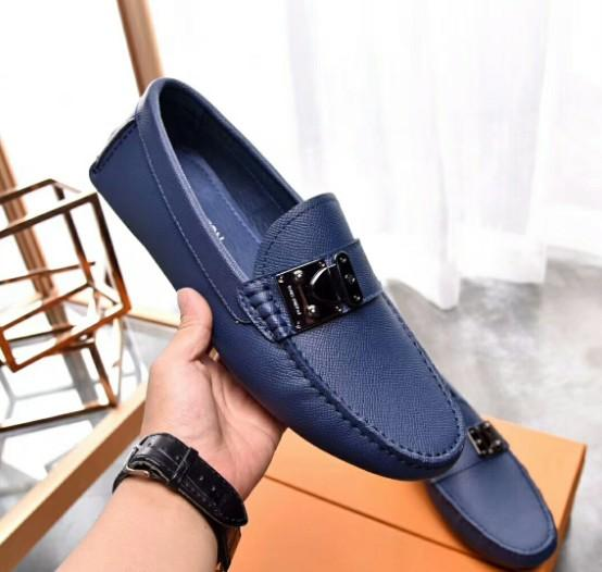 Mens dress shoes lace up designer brogue shoe business Black leather with gold thread Genuine leather metal