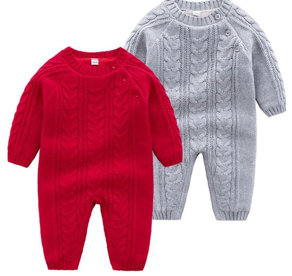 03-12mo bebê escalada terno Outono e inverno novo bebê meninos e meninas vermelho clássico torção com veludo adensado de uma peça ha yi